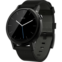 Moto 360 2nd Gen for Men 42mm - Black with Black Leather
