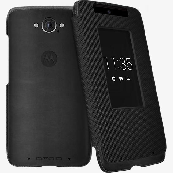 Flip Case for DROID Turbo - Black Leather and Ballistic Nylon