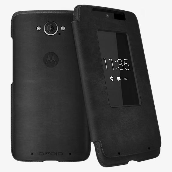 Flip Case for DROID Turbo - Black Leather and Gray Suede