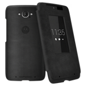 Motorola Flip Case for DROID Turbo - Black Leather and Gray Suede
