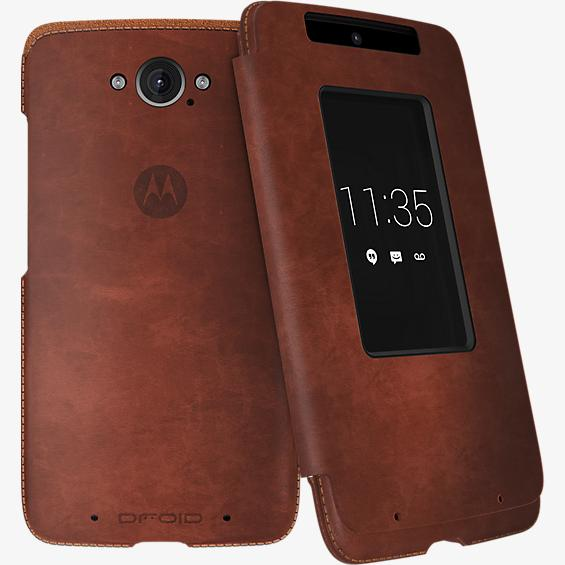 Flip Case for DROID Turbo - Dark Natural Leather