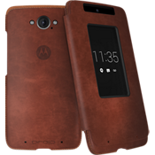 Motorola Flip Case for DROID Turbo - Dark Natural Leather