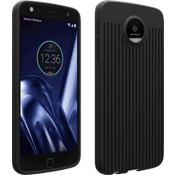 Textured Silicone Case for Moto Z Play Droid - Black