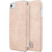 1960 Folio Case for iPhone 7 - Pink Kraits/Silver Metallic