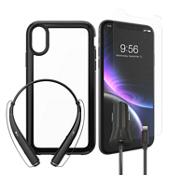 Presidio Show Case, Protection & Car Charging Bundle with Headset for iPhone XR