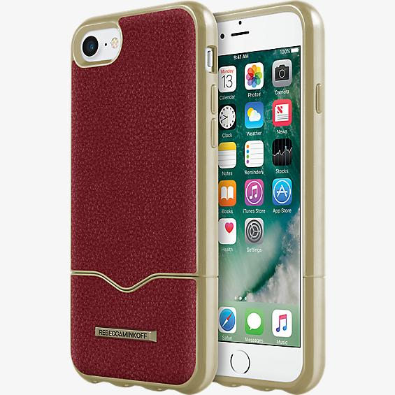 The Slide Case for iPhone 7 - Deep Red Leather