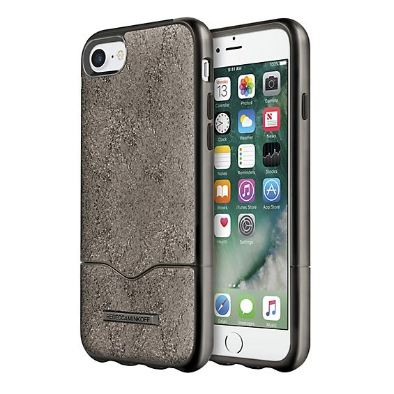 Rebecca Minkoff Slider Case for iPhone 7 - Cracked Leather Anthracite