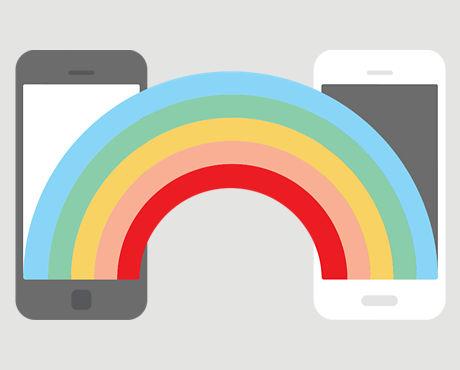 Rainbow connecting 2 smartphones