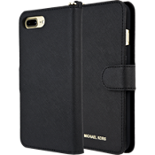 Saffiano Leather Folio Case for iPhone 8 Plus/7 Plus - Black