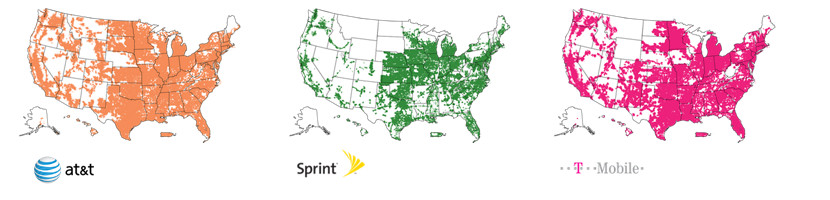 ATT, T-Mobile and Sprint 4G LTE Coverage Maps