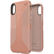 Presidio Grip + Glitter Case for iPhone XR - Glossy Bella Pink with Gold Glitter/Dahlia Peach