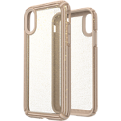Presidio V-Grip Case for iPhone XR - Clear with Gold Glitter/Calfskin Brown