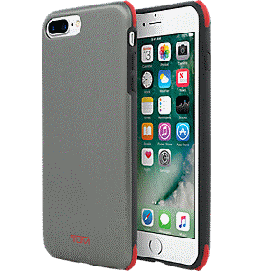 1f8223a3c1b177 TUMI Protection Case for iPhone 8 Plus/7 Plus - Brushed Gunmetal/Red Colour