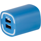 3.4A Travel Charger with Dual Output - Blue