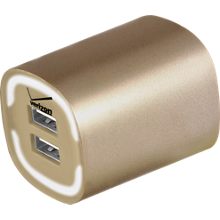 3.4A Travel Charger with Dual Output - Gold