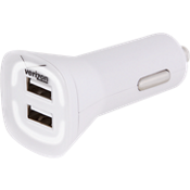 4.8A Vehicle Charger with Dual Output - White