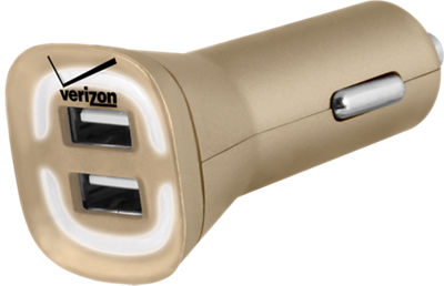 Image of 4.8A Vehicle Charger with Dual Output - Gold