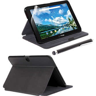 Folio Case, Screen Protector and Stylus Pen Bundle for Ellipsis 10 - Black