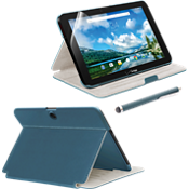 Folio Case, Screen Protector and Stylus Pen Bundle for Ellipsis 10 - Blue
