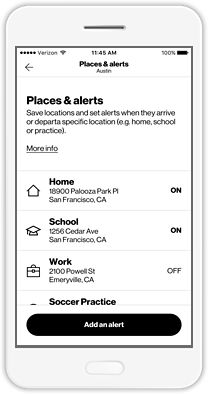 Places & alerts - Know they made it to practice