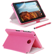 Folio Case, Screen protector and Stylus Pen Bundle for Ellipsis 8 - Pink