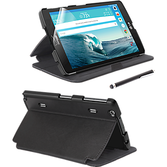Folio Case, Screen protector and Stylus Pen Bundle for LG G Pad X8.3 - Black