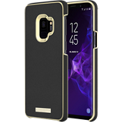 Wrap Case for Galaxy S9 - Saffiano Black/Gold Logo Plate