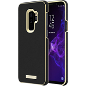 Wrap Case for Galaxy S9+ - Saffiano Black/Gold Logo Plate